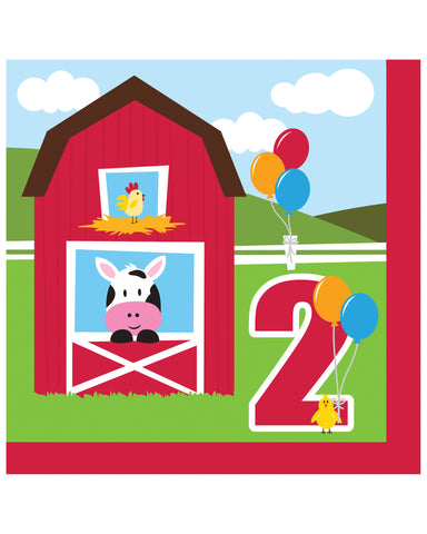 Farmhouse Fun 2nd Birthday 2-Ply Lunch Napkins (18 Ct.)