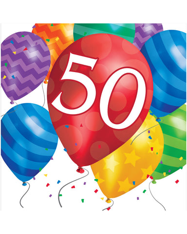 Balloon Blast 50th Birthday 2-Ply Lunch Napkins (16 Ct.)