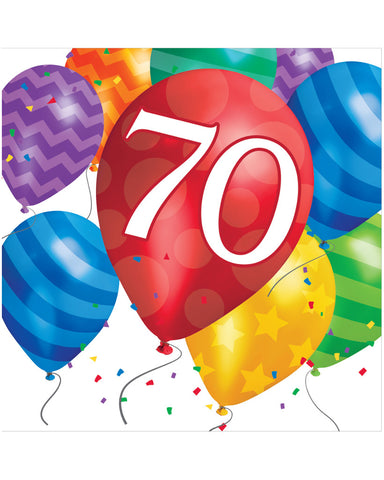 Balloon Blast 70th Birthday 2-Ply Lunch Napkins (16 Ct.)