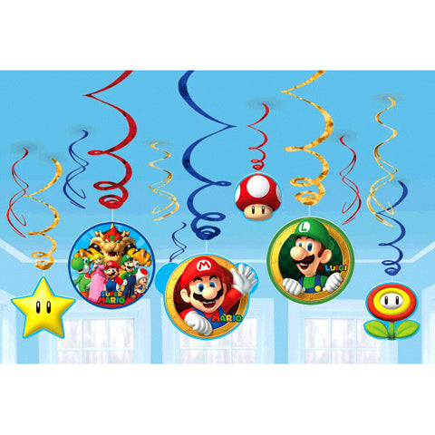 Super Mario Brothers™ Value Pack Foil Swirl Decorations