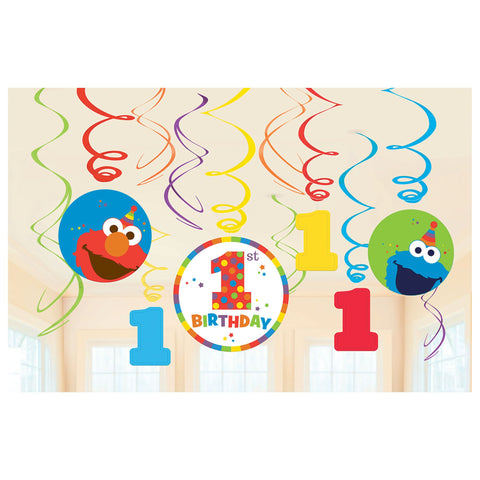Sesame Street® Elmo Turns One Value Pack Plastic Swirl Decorations