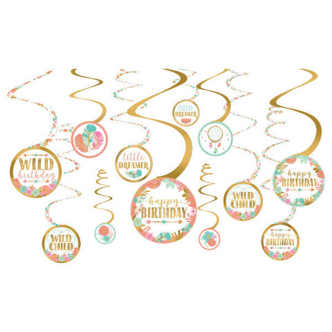 Boho Birthday Girl Value Pack Spiral Decorations