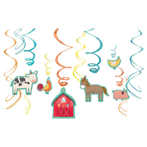 Barnyard Farm Birthday Value Pack Foil Swirl Decorations