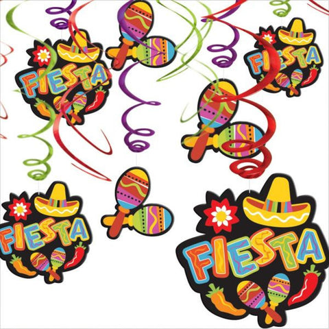 Fiesta Foil Swirl Hanging Decorations (12 Ct.)