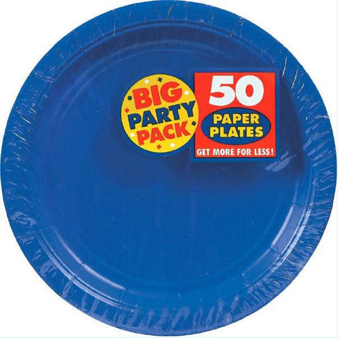 "Bright Royal Blue 7"" Paper Plate 50ct"
