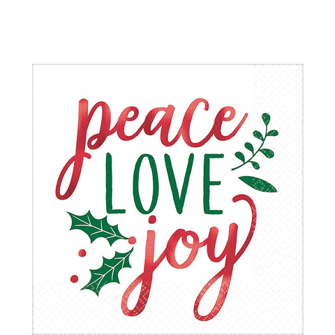 Christmas Peace Love Joy Holiday Luncheon Napkins 16ct