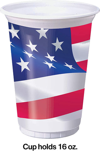 American Flag Plastic Cups, 16 ounces, Red, White and Blue - Patriotic 4th of July