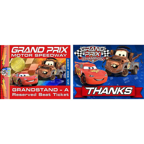 Cars 'Grand Prix Dream Party' Invitations and Thank You Notes w/ Envelopes (8ct)