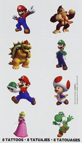 Super Mario Brothers Tattoos, Party Favor