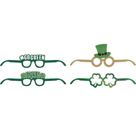 St. Patrick's Day Deluxe Paper Eyeglasses 4ct