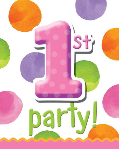 Big 1 Dots - 1st Birthday Girl Invites - 8 ct