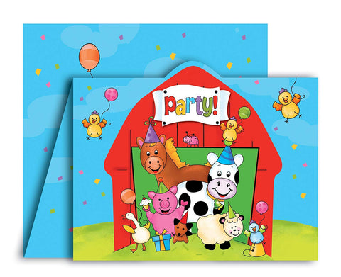 Barnyard Bash Party Invitations, 8 Count