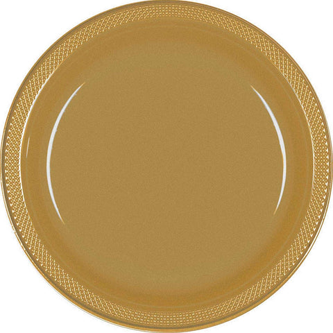 "9"" Gold Plastic Plates, 20 Pack"