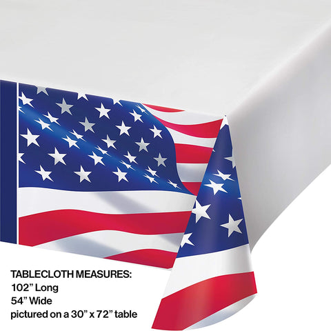 "American Flag Paper Tablecloth, 54"" x 102"", Red, White and Blue - Patriotic 4th of July"