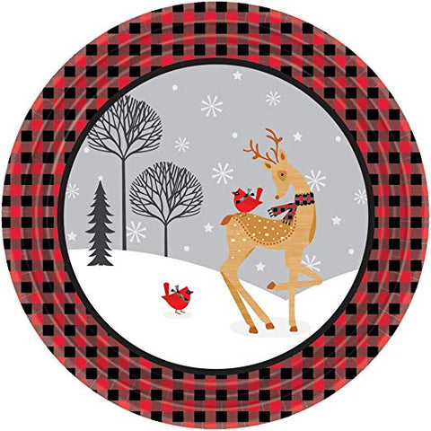 "Christmas Winter Plaid  7"" Dessert Plates (8 Ct.)"