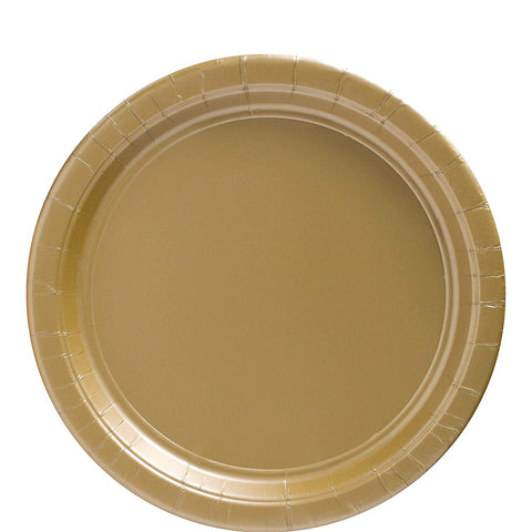 "Big Party Pack Gold Paper Plates  9"" Pack of 50"
