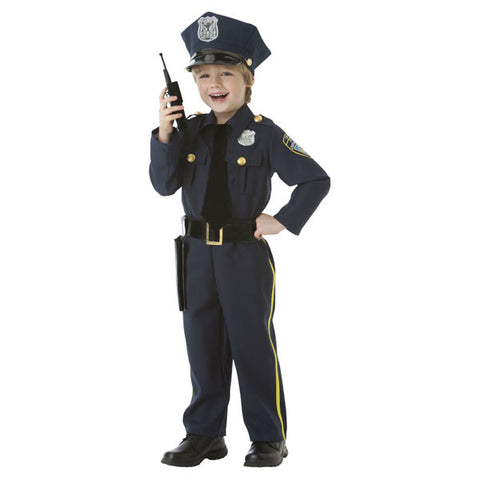 Boys Classic Police Officer Costume with Hat, Holster, Walkie Talkie and Pants