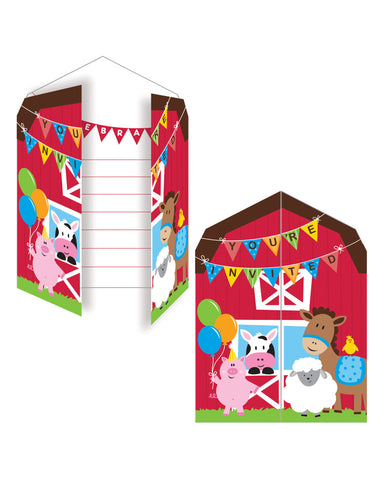 Farmhouse Fun Gatefold Diecut Invitations (8 Ct.)