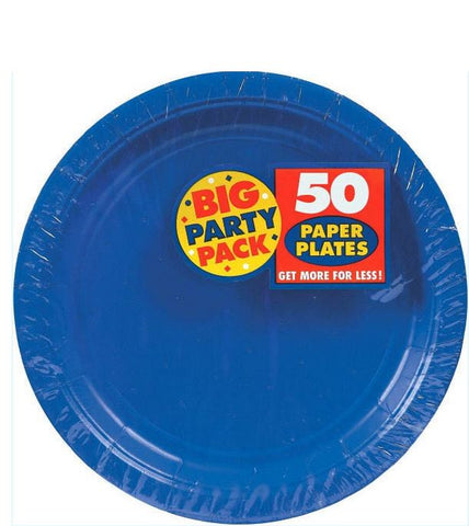 "Bright Royal Blue 9"" Paper Plate 50ct"