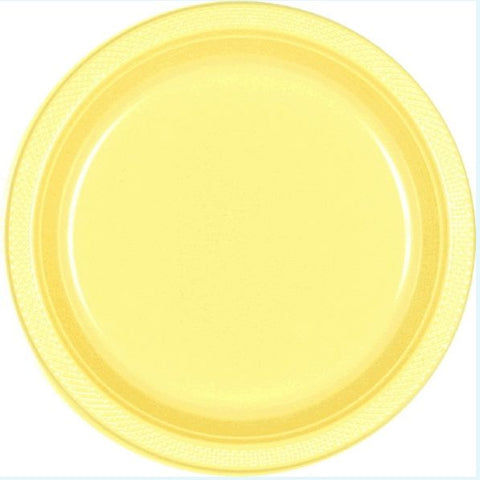 "Light Yellow 9"" Plastic Plate 20ct"