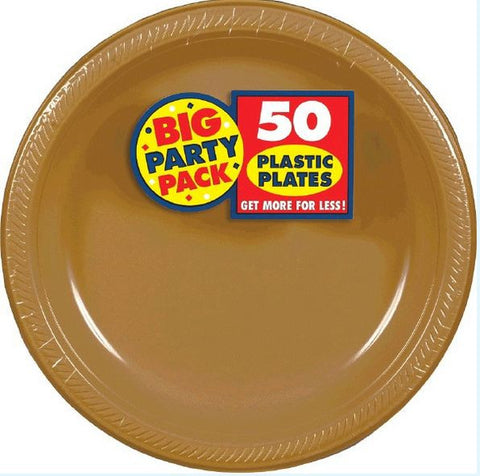 "Gold 9"" Plastic Plate 50ct"