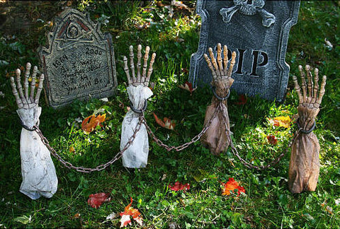 Shackled Skele-Arm Stakes - Halloween Outdoor Decoration