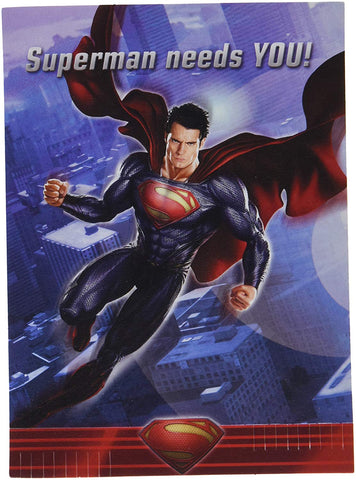 Superman Man of Steel Invitations and Thank You Notes w / Envelopes (8ct)