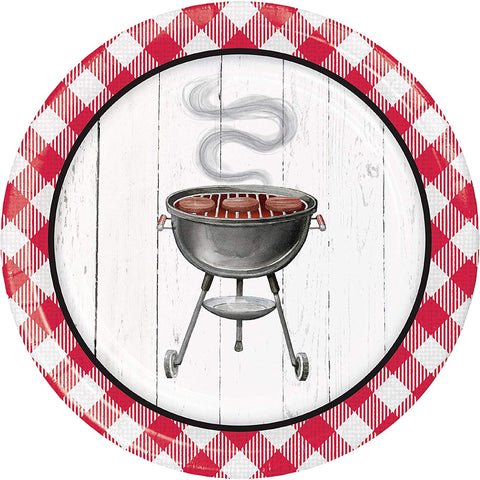 "Backyard BBQ Paper Dinner Plate, 9"", Multi-colored"