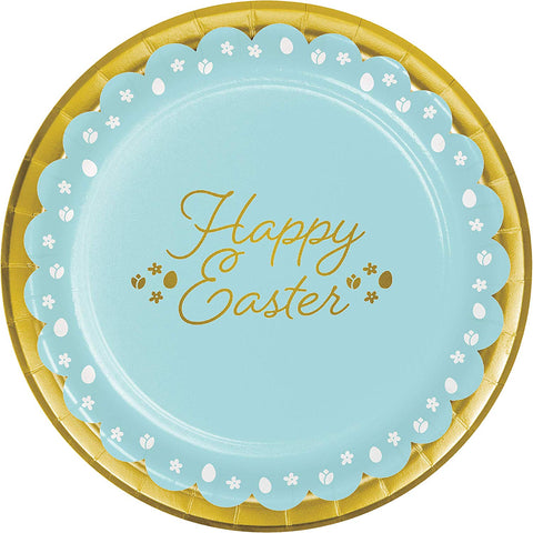 "Golden Easter 9"" Plates 8ct Paper"