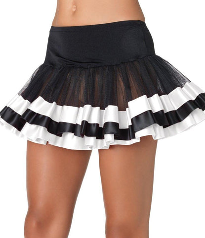 Women's Black Petticoat with Silver Satin Trim