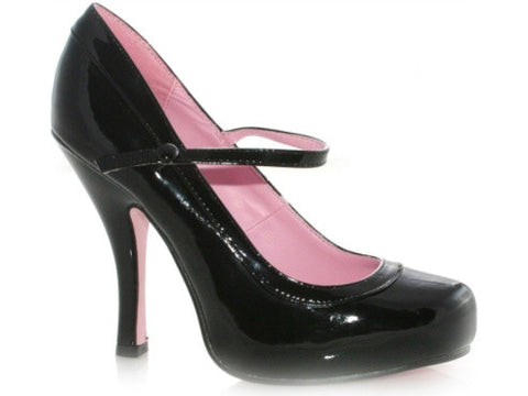 "Women's Black High Heel Shoes, 4"" Patent Mary Jane With 1"" Concealed Platform"