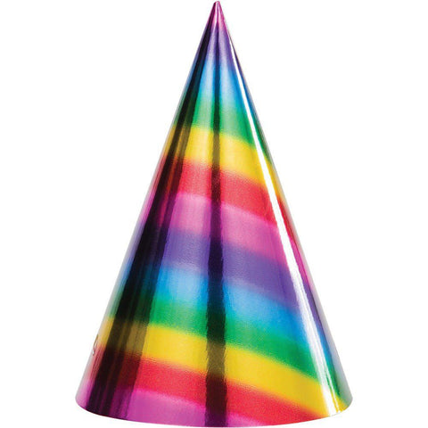 Cone Hats Rainbow Foil