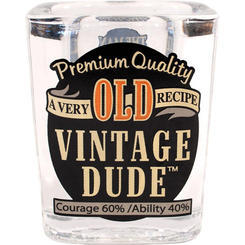 Vintage Dude Old Age Birthday Double-Size Shot Glass (58 mL)