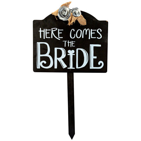 Outdoor Wedding Sign- Here Come's The Bride Wooden with Ground Stake and Flowers