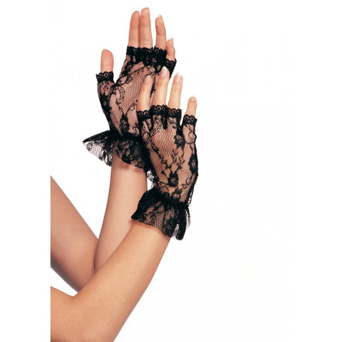 (Dz. Pack) Lace Fingerless Wrist Ruffle Gloves One-Size Black