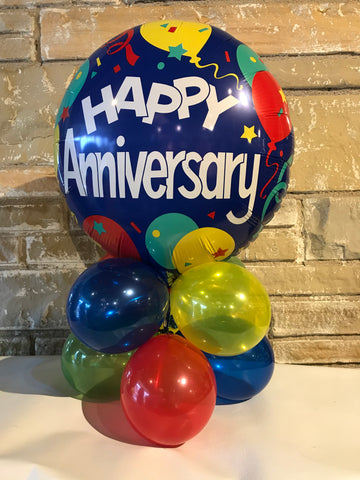 Tabletop Air-Filled Foil Balloon Centerpiece Happy Anniversary