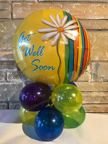 Tabletop Air-Filled Foil Balloon Centerpiece Get Well Soon