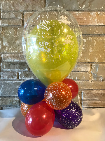 "Double Stuffed Air filled Latex Balloon Centerpiece 22"" High"