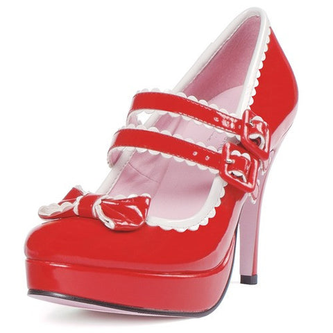 "Women's Red / White High Heel Shoes, 4"" Patent Mary Jane With 1"" Platform"