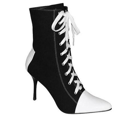 Women's High Heel Referee Shoes, Black / White Lace-Up