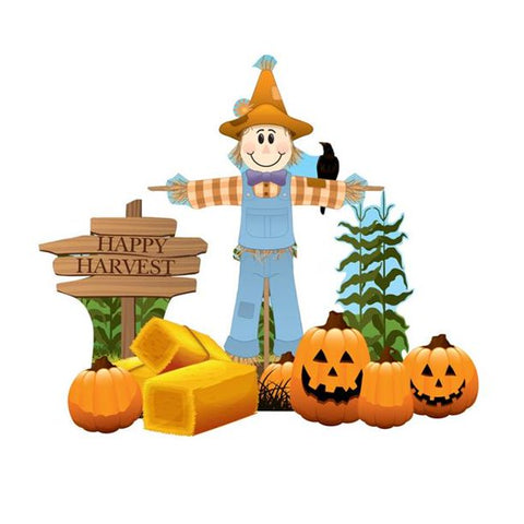 Happy Halloween Outdoor Lawn Sign Decoration Scarecrow Theme includes Metal Stakes