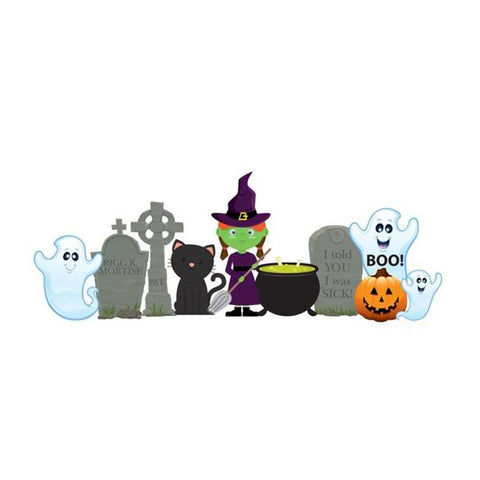Halloween Witch and Ghost Outdoor Lawn Decorations Set with Metal Stakes Included