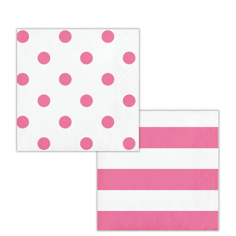 Candy Pink Beverage Napkins Dots & Stripes