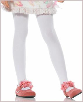 Girl's Fashion White Nylon Footed Tights by Patterns