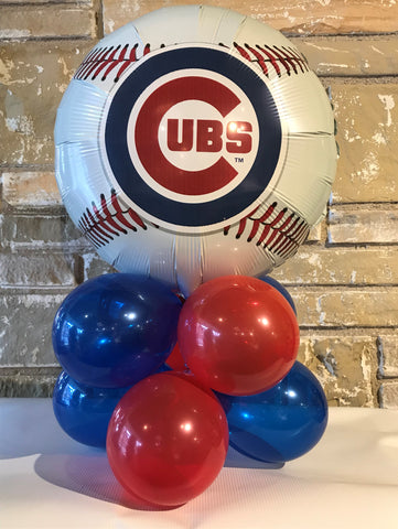 Tabletop  Air-Filled Foil Balloon Centerpiece Chicago Cubs Team