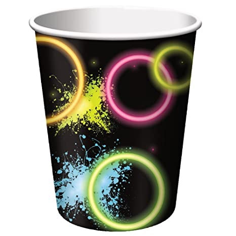 glow party 8ct paper cups