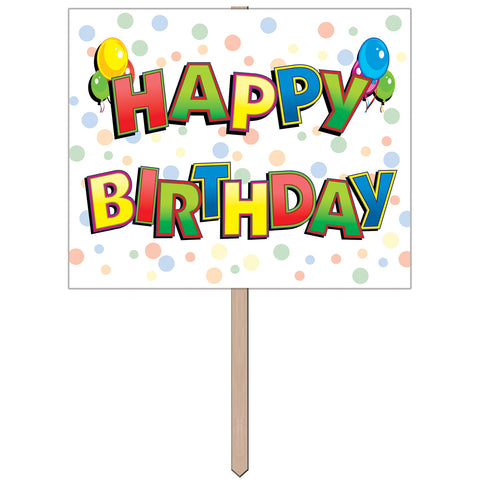 "Happy Birthday Yard Lawn Sign 12"" x 15"""