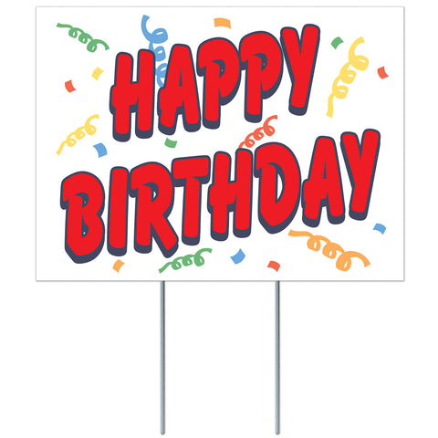 "Happy Birthday Lawn Yard Sign 11½"" x 15½"" Plastic"