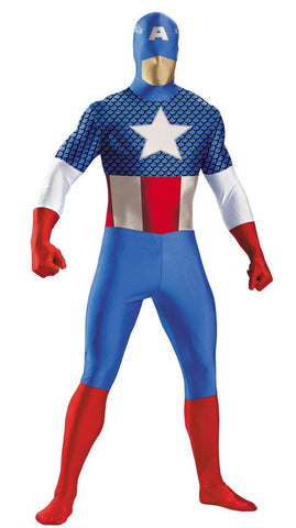 CAPTAIN AMERICA Deluxe Superhero Full Bodysuit Costume - Medium - Chest Size 38-40