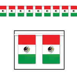Mexican Flag Plastic Outdoor Banner 60ft. x 18 inches